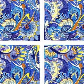 Blue Tile Paisley Patch