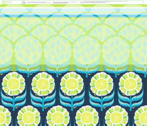 """UPSY DASY GIRLS REVERSIBLE SKIRT in """"NAVY LIME"""" fabric by trcreative on Spoonflower - custom fabric"""