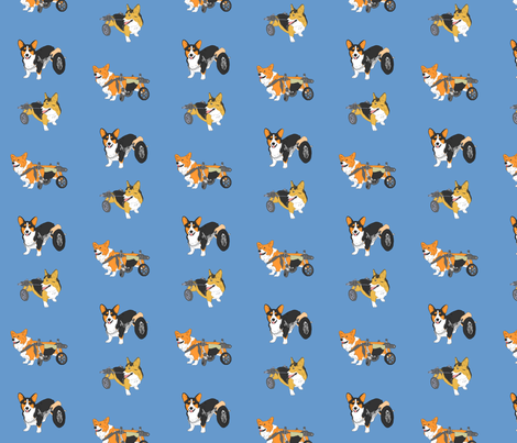 Corgi's on Wheels - blue fabric by rusticcorgi on Spoonflower - custom fabric