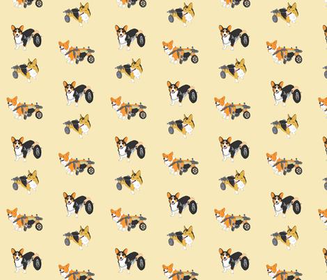 Corgi's on Wheels - tan fabric by rusticcorgi on Spoonflower - custom fabric