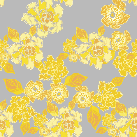 Blossoms Yellow and Gold fabric by joanmclemore on Spoonflower - custom fabric