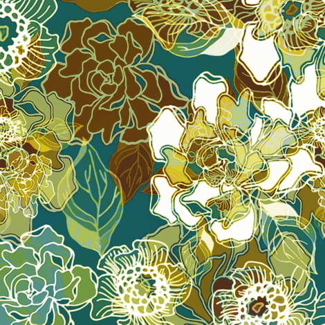 Cloisonne Blooms fabric by joanmclemore on Spoonflower - custom fabric