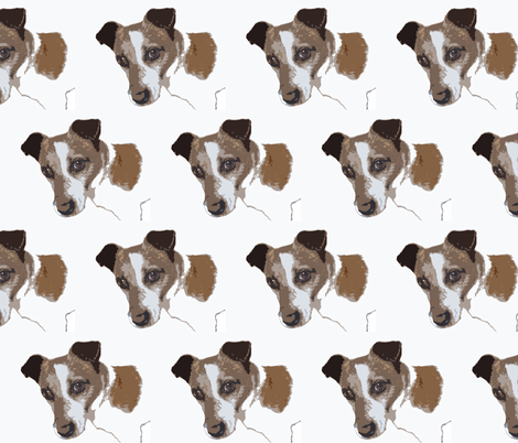 Jack Russell Dog  Head photo sketch, white, russet,black fabric by sew_delightful on Spoonflower - custom fabric