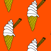 orange ice cream cone with chocolate flake.