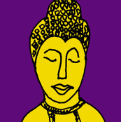 Burmese/Thai Ink Sketch  of head in Purple,Black and Yellow