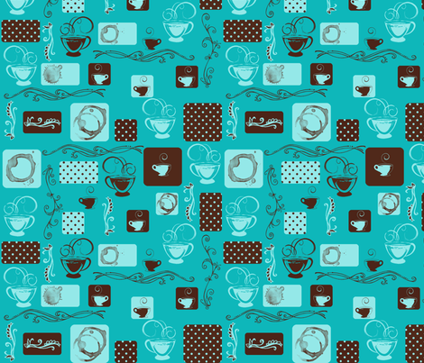 Coffee Thoughts in Teal fabric by jpdesigns on Spoonflower - custom fabric