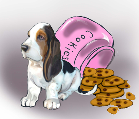 Basset Hound puppy dog fabric_cute puppy with cookies fabric by dogdaze_ on Spoonflower - custom fabric