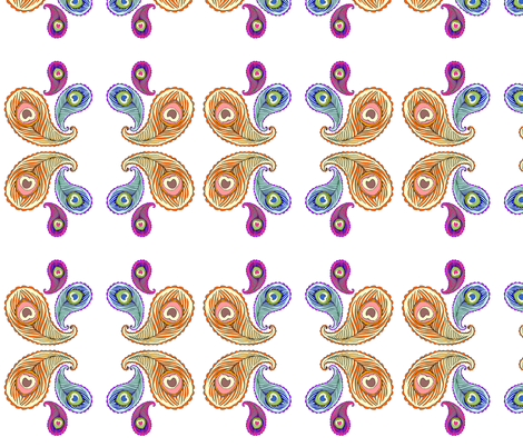 mirrored peacock paisley fabric by beesocks on Spoonflower - custom fabric