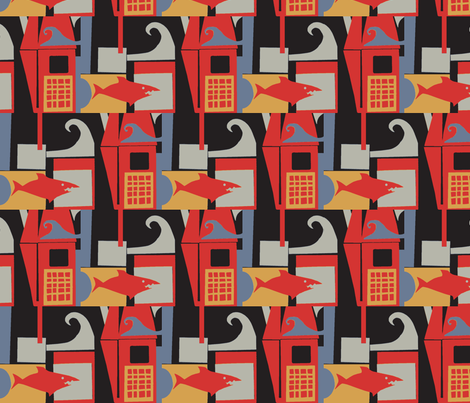 The Shark Approaches the Cage fabric by boris_thumbkin on Spoonflower - custom fabric