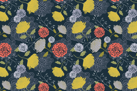Midnight Blue Chrysanthemum fabric by nikkibutlerdesign on Spoonflower - custom fabric