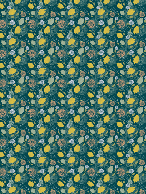 Midnight Green Chrysanthemum fabric by nikkibutlerdesign on Spoonflower - custom fabric