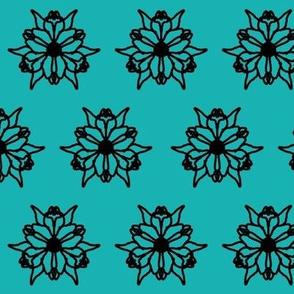 Aqua Black Flower