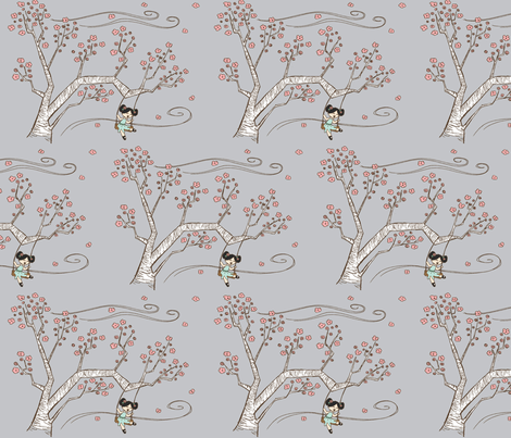 CHERRY BLOSSOM  fabric by garwooddesigns on Spoonflower - custom fabric