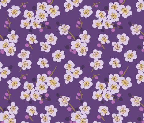 pear blossom purple fabric by littlerhodydesign on Spoonflower - custom fabric