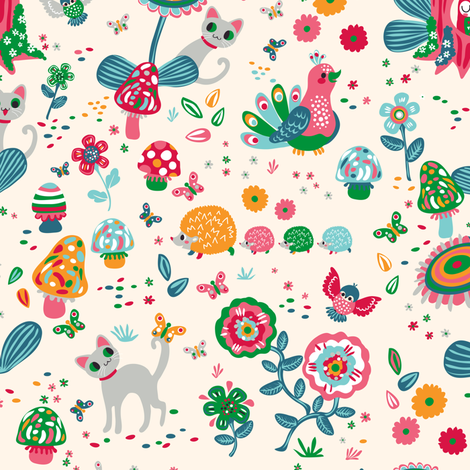 Cat in the forest | blanc  fabric by irrimiri on Spoonflower - custom fabric