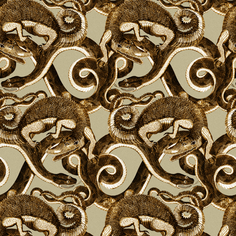 John Scoles Alligator & Black Snake (1796): Reptile Knots fabric by maxje on Spoonflower - custom fabric