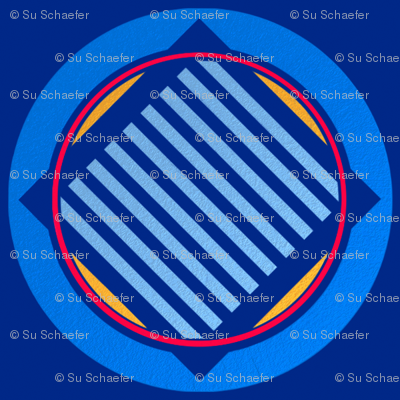 Nautical roundel on mid blue by Su_G