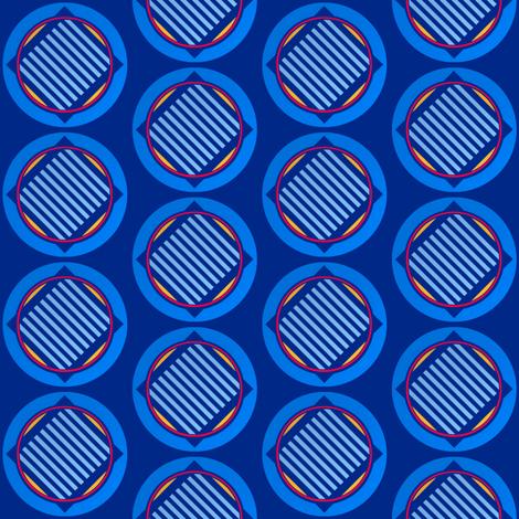 Nautical roundel on mid blue by Su_G fabric by su_g on Spoonflower - custom fabric