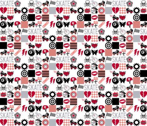 Roller Derby || roller skate skating hearts girls grrl punk emo sports tattoo fabric by pennycandy on Spoonflower - custom fabric