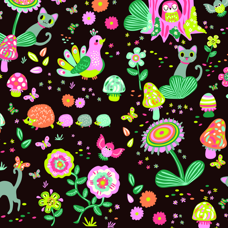 Cat in the forest | dark fabric by irrimiri on Spoonflower - custom fabric