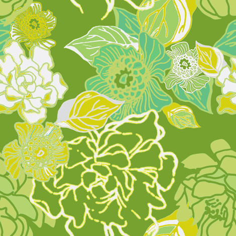 Jungle Fresh in green fabric by joanmclemore on Spoonflower - custom fabric