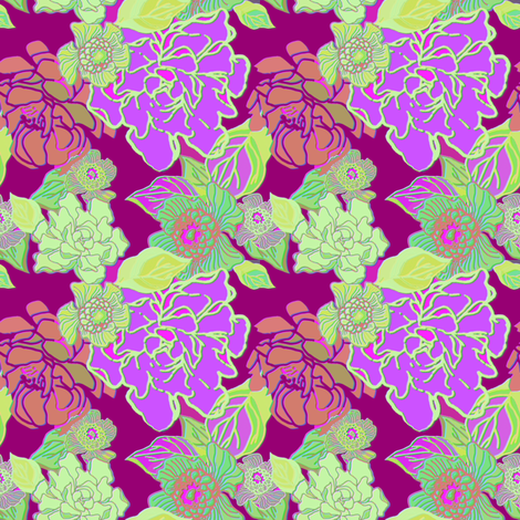 Jungle Bloom fabric by joanmclemore on Spoonflower - custom fabric