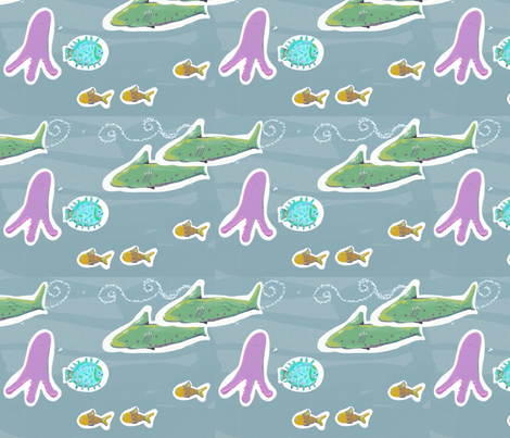 sharks_in_the_sea fabric by claudiavv on Spoonflower - custom fabric