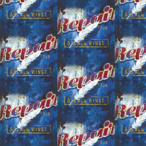 repair your broken wings vintage poster fabric by vinkeli on Spoonflower - custom fabric