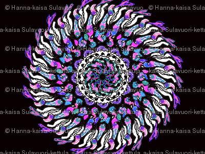 Giant retro style pink turquoise blue purple black and white dahlia flower