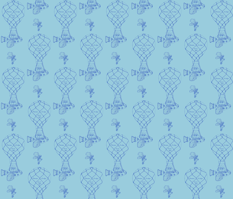 Steampunk air transportation - blue fabric by victorialasher on Spoonflower - custom fabric