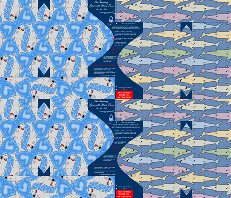 ©2011 The Amazing Reversible Shark Purse - a 2 for 1 kit - VIEW FULL fabric by glimmericks on Spoonflower - custom fabric