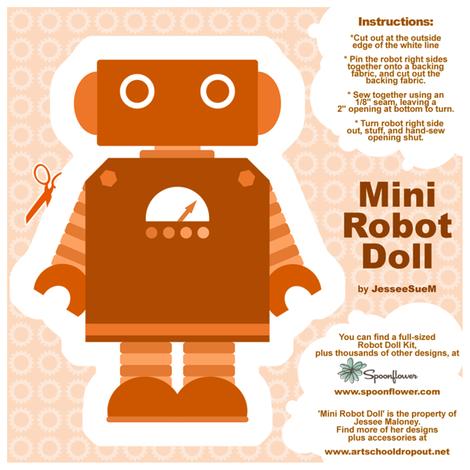 Mini Robot Doll - Orange fabric by jesseesuem on Spoonflower - custom fabric