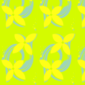 Lime Green,Blue,Petals & Bubbles