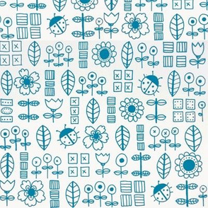 Flowers and Bugs in Turquoise by Val's Art Studio