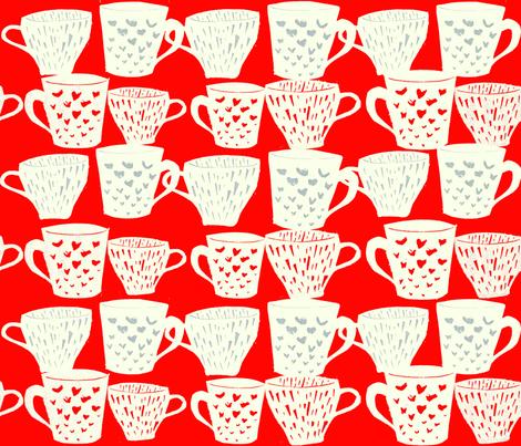 Coffee cups fabric by mintprint on Spoonflower - custom fabric