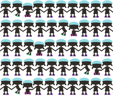 roller derby paper doll chain fabric by babysisterrae on Spoonflower - custom fabric