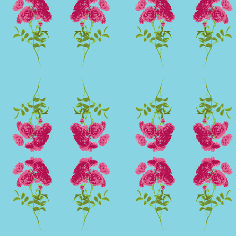 tea rose stripe small turquoise fabric by miss_blümchen on Spoonflower - custom fabric