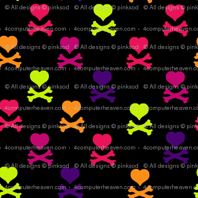Heart Skulls - Drawn That Way - © PinkSodaPop 4ComputerHeaven.com