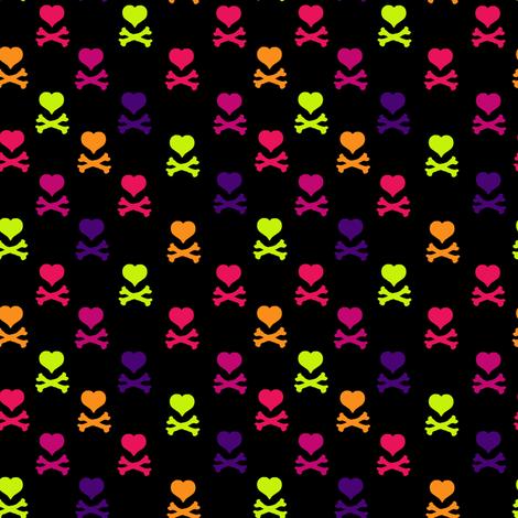 Heart Skulls - Drawn That Way - © PinkSodaPop 4ComputerHeaven.com fabric by pinksodapop on Spoonflower - custom fabric