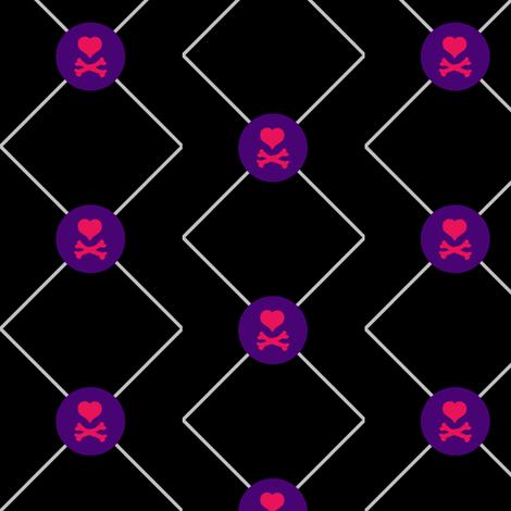 Heart Skull Net - Drawn That Way - © PinkSodaPop 4ComputerHeaven.com fabric by pinksodapop on Spoonflower - custom fabric