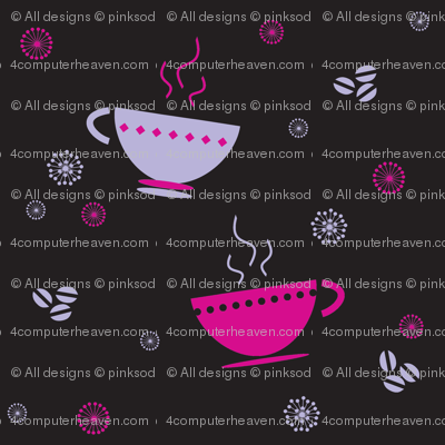 Coffee Cups & Retro Flowers! - © PinkSodaPop 4ComputerHeaven.com