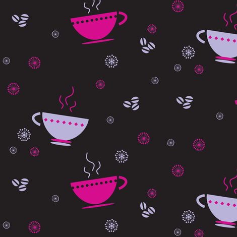Coffee Cups & Retro Flowers! - © PinkSodaPop 4ComputerHeaven.com fabric by pinksodapop on Spoonflower - custom fabric