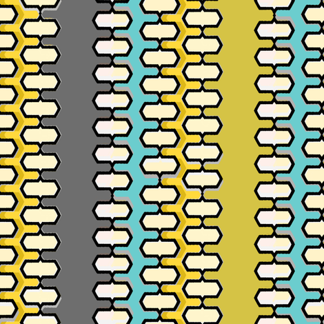 Danish Modern stripes gold blue and gray fabric by joanmclemore on Spoonflower - custom fabric