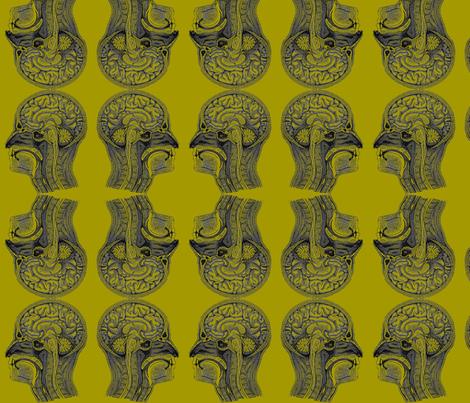 HeadAnatomy-Acid Green fabric by relative_of_otis on Spoonflower - custom fabric
