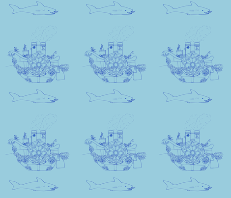Steampunk sea transportation - blue fabric by victorialasher on Spoonflower - custom fabric