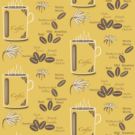 Coffee-3-yellow fabric by petals_fair_(peggy_brown) on Spoonflower - custom fabric