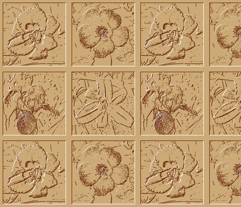 Coffee and Cream Flower Tiles  fabric by khowardquilts on Spoonflower - custom fabric