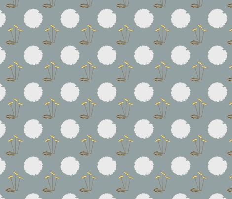 Three Straight Flowers on Blue-Grey fabric by petals_fair_(peggy_brown) on Spoonflower - custom fabric