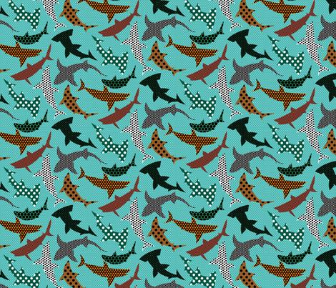 Polka Dot Sharks on Blue fabric by ravenous on Spoonflower - custom fabric