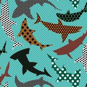 Polka Dot Sharks on Blue